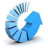 Flecha de proceso azul Fotografía de archivo libre de regalías