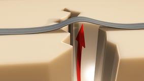 Flecha de tierra del camino del terremoto de la grieta Foto de archivo