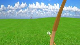 Flecha de un arquero que golpea exactamente la diana de centro de la blanco, animación 3D almacen de metraje de vídeo