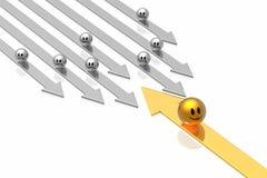 Flecha del éxito con la dirección imágenes de archivo libres de regalías