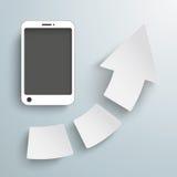 Flecha del éxito 3 pedazos de Smartphone stock de ilustración