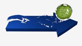 Flecha del agua azul con el globo Foto de archivo