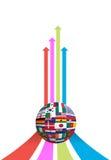 Flecha del asunto y gráfico del globo del indicador Foto de archivo libre de regalías