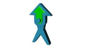 flecha del azul del ejemplo 3D representación 3D con el centro verde en el fondo blanco Fotos de archivo