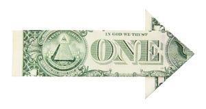 Flecha del crecimiento del dólar Imagen de archivo