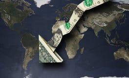 Flecha del dólar abajo Imágenes de archivo libres de regalías