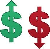 Flecha del dólar para arriba abajo Imagenes de archivo