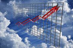 Flecha del gráfico de las finanzas para arriba Imágenes de archivo libres de regalías