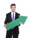 Flecha del hombre de negocios para arriba Imagen de archivo libre de regalías
