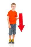 Flecha del muchacho abajo Imagen de archivo libre de regalías