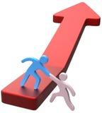 Flecha del progreso del amigo de la mano de la ayuda Imagen de archivo libre de regalías