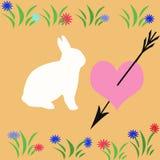 Flecha derecho en corazón tan suavemente como un conejo Imagen de archivo