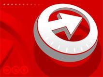 Flecha en backround rojo Fotografía de archivo libre de regalías