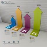 Flecha en concepto del fondo de Infographic de la pared stock de ilustración