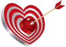 Flecha en el ejemplo de la diana de la dimensión de una variable del corazón Fotografía de archivo