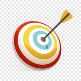 Flecha en el icono de la blanco, estilo de la historieta ilustración del vector