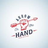 Flecha en el vector Logo Template del extracto de la mano Símbolo rojo de la silueta del puño con tipografía retra Imagen de archivo