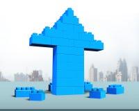 Flecha encima de la forma de los bloques de la pila Foto de archivo
