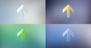 Flecha encima del icono 3d Fotografía de archivo