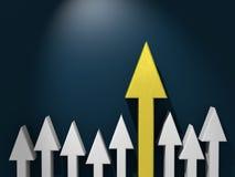 Flecha excepcional de oro entre gris otros stock de ilustración