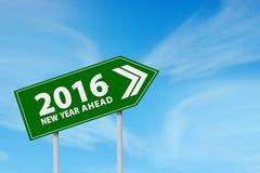 Flecha formada señal de tráfico con los números 2016 Imagen de archivo libre de regalías