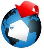 Flecha global del email del mundo stock de ilustración