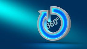 Flecha grande de neón de 360 grados que brilla intensamente en la tabla, en fondo azul, Imagen de archivo libre de regalías