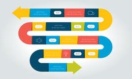 Flecha grande infographic, plantilla, diagrama, carta, cronología de la serpiente stock de ilustración