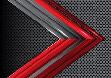 Flecha gris roja abstracta en vector creativo futurista moderno del fondo del diseño de la malla del círculo del metal Imagen de archivo libre de regalías