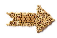 Flecha hecha de corchos usados del vino Imagenes de archivo