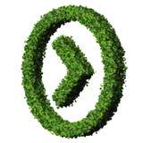 Flecha hecha de las hojas del verde aisladas en el fondo blanco 3d rinden Foto de archivo libre de regalías