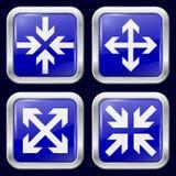 Flecha Iconos del metal Foto de archivo libre de regalías