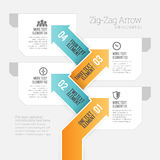Flecha Infographic del zigzag Imágenes de archivo libres de regalías