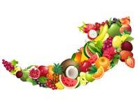Flecha integrada por diversas frutas con las hojas Foto de archivo libre de regalías