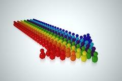 Flecha multicolora formada por el ser humano estilizado 3d Imagen de archivo