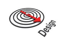 Flecha que apunta en la dirección de diseño Fotos de archivo libres de regalías
