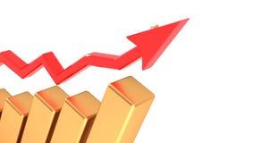 Flecha que indica el aumento de beneficios en negocio en bienestar financiero Las cosas van bien 28 stock de ilustración
