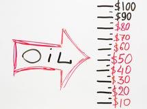 Flecha que señala en el precio del petróleo que baja abajo Fotografía de archivo libre de regalías