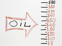 Flecha que señala en el precio del petróleo que baja abajo Imagen de archivo libre de regalías