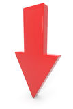 Flecha roja 3d abajo. Imagen de archivo libre de regalías