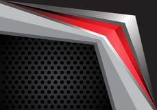 Flecha roja abstracta en vector moderno de la textura del fondo del diseño gris del metal Imagenes de archivo
