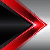 Flecha roja abstracta en vector moderno del fondo del diseño negro del metal Imagen de archivo libre de regalías