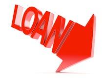 Flecha roja con concepto del texto del préstamo Foto de archivo libre de regalías