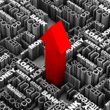 Flecha roja de las palabras financieras para arriba Imágenes de archivo libres de regalías