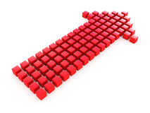 Flecha roja de los cubos Foto de archivo libre de regalías