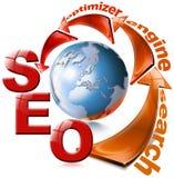 Flecha roja de SEO - Web de la optimización del Search Engine ilustración del vector