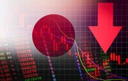 Flecha roja del precio de la crisis del mercado de bolsa de acción de Japón Tokio abajo del mercado de bolsa de acción de Nikkei  ilustración del vector