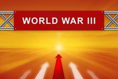 Flecha roja y guerra mundial III en señal de tráfico roja Foto de archivo