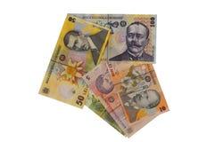 Flecha rumana de la moneda del billete de banco de los leus Imagen de archivo