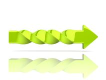 Flecha torcida verde Foto de archivo libre de regalías